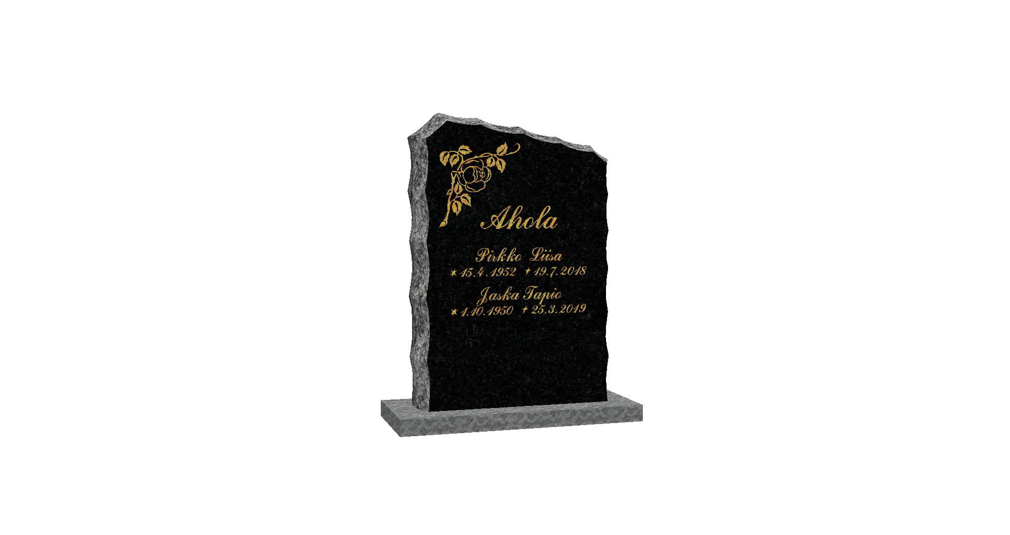 Hautakivi: Aaltoilevasti-louhittu-50-x-70-Musta